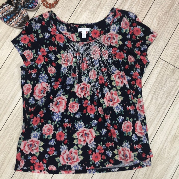 Charter Club Tops - Charter Club Navy floral cap sleeve T-shirt size L